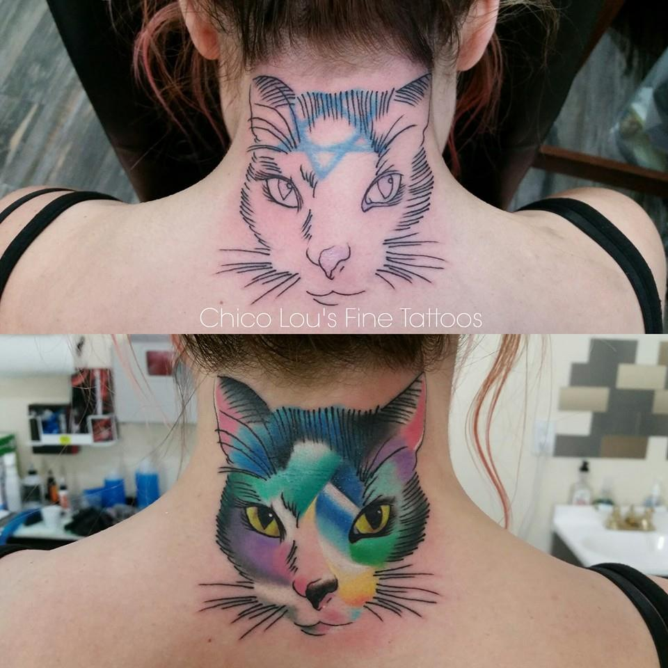 Artistic kitty coverup before and after by Chico Lou's Fine Tattoos shop in Athens Georgia GA. Artist - Sara Fogle.