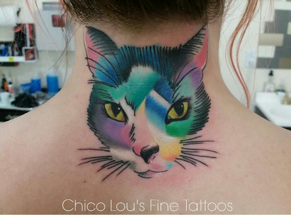 Artistic kitty coverup by Chico Lou's Fine Tattoos shop in Athens Georgia GA. Artist - Sara Fogle