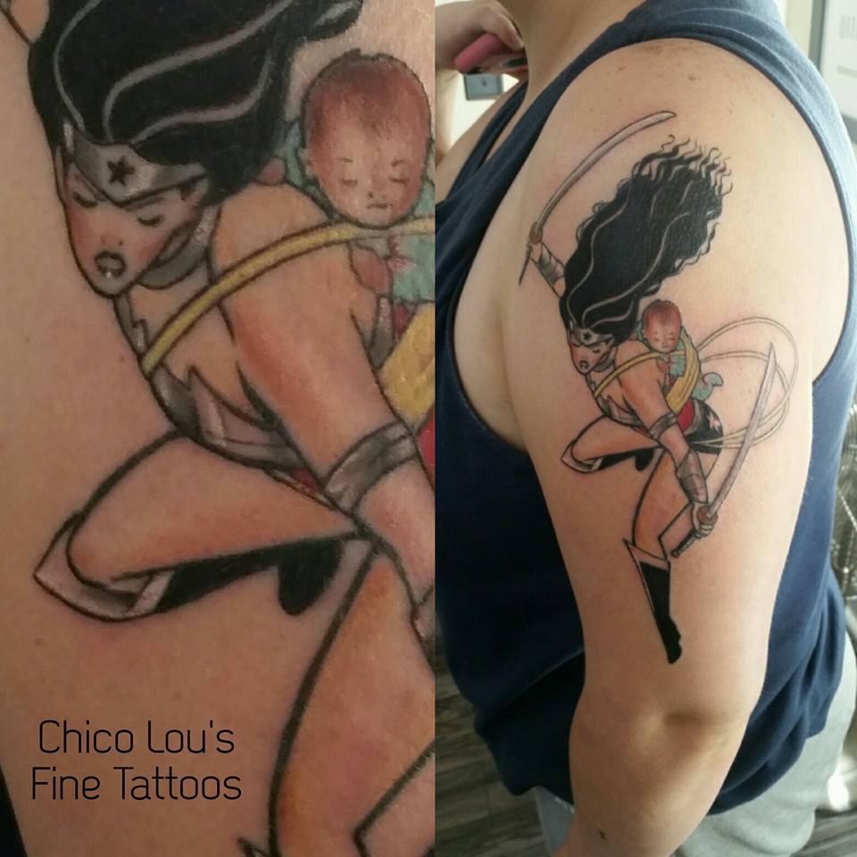 Finished Wonder Woman by Chico Lou's Fine Tattoos shop in Athens Georgia GA. Artist - Sara Fogle