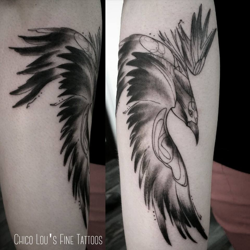 Crow details by Chico Lou's Fine Tattoos shop in Athens Georgia GA. Artist - Sara Fogle