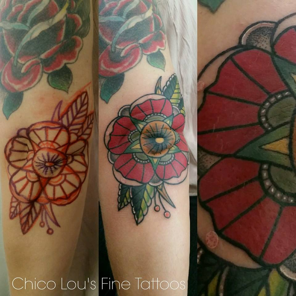 Drawn-on elbow flower by Chico Lou's Fine Tattoos shop in Athens Georgia GA. Artist - Sara Fogle
