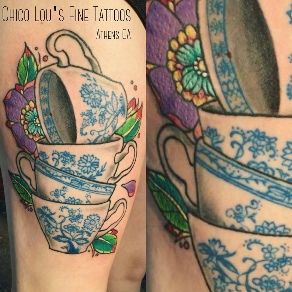 Finished teacups by Chico Lou's Fine Tattoos shop in Athens Georgia GA. Artist - Sara Fogle