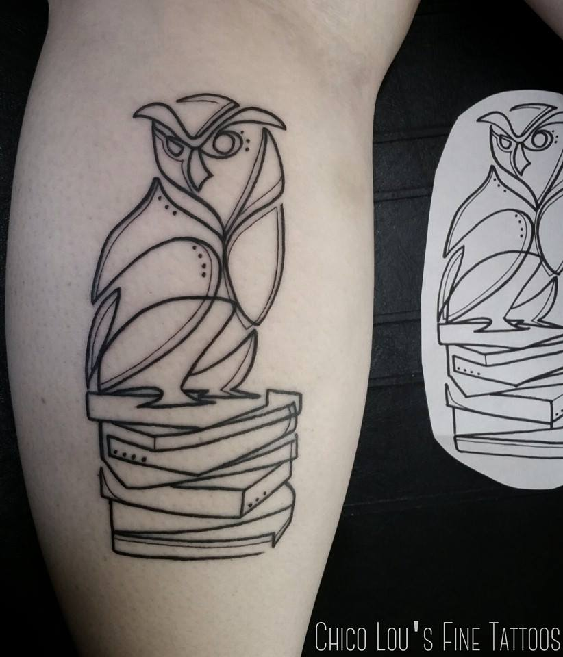 Owl and books by Chico Lou's Fine Tattoos shop in Athens Georgia GA. Artist - Sara Fogle