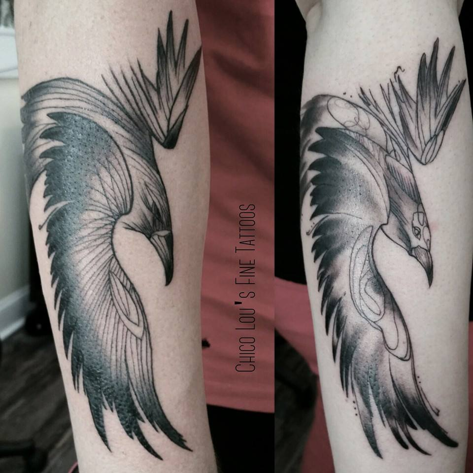 Raven and crow couple's tattoo by Chico Lou's Fine Tattoos shop in Athens Georgia GA. Artist - Sara Fogle