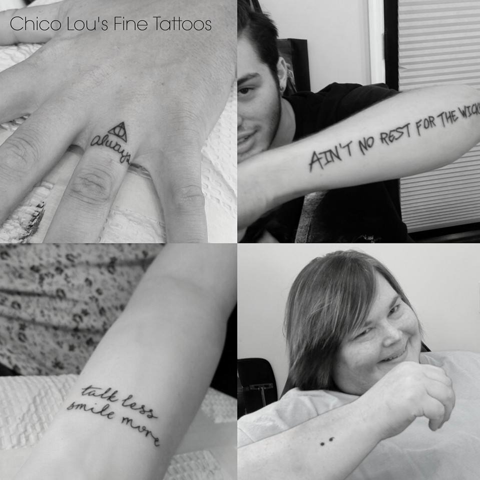 Collage of tiny tattoos (Harry Potter/Deathly Hallows, Cage the Elephant, semi-colon) by Chico Lou's Fine Tattoos shop in Athens Gerogia GA. Artist - Sara Fogle