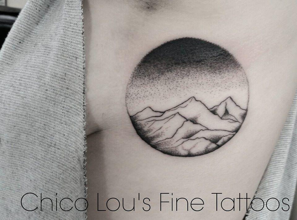 Blackwork mountains by Chico Lou's Fine Tattoos shop in Athens Georgia GA. Artist - Sara Fogle