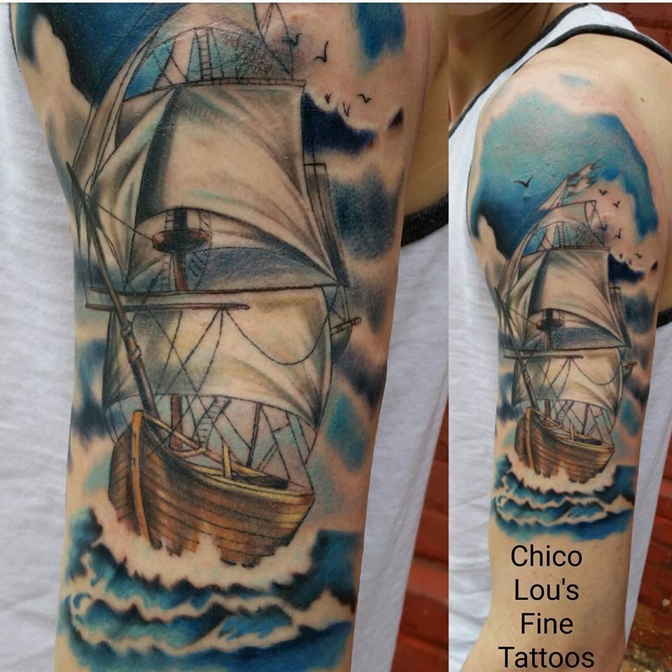 Tall sailing ship by Chico Lou's Fine Tattoos shop in Athens Georgia GA. Artist - Sara Fogle