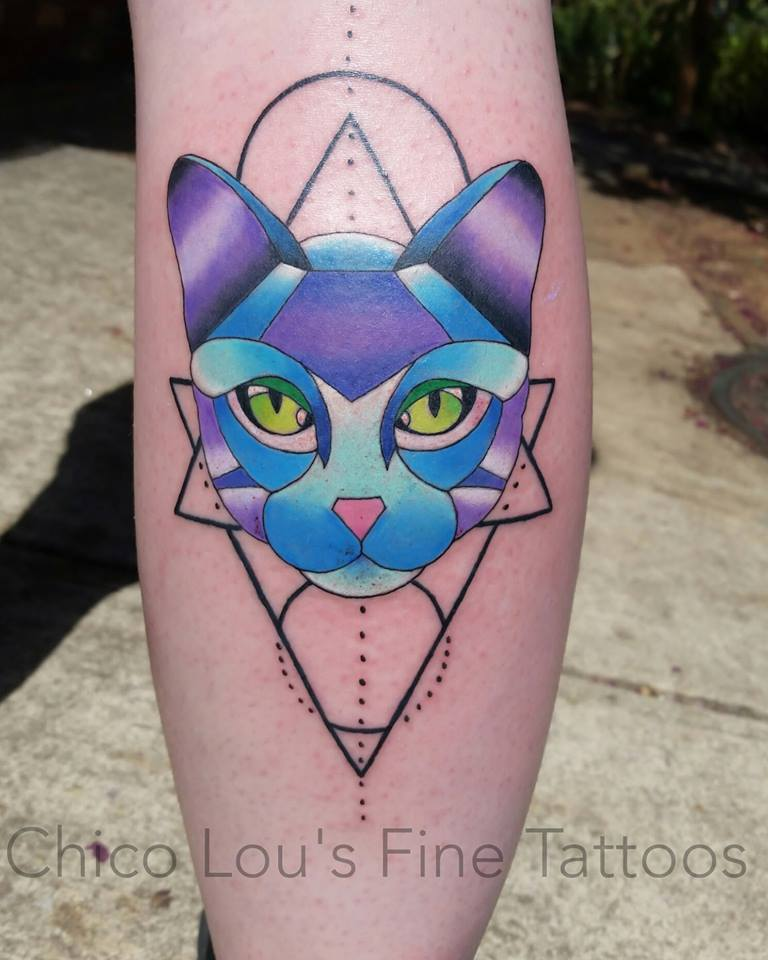 Geometric kitty cat by Chico Lou's Fine Tattoos shop in Athens Georgia GA. Artist - Sara Fogle