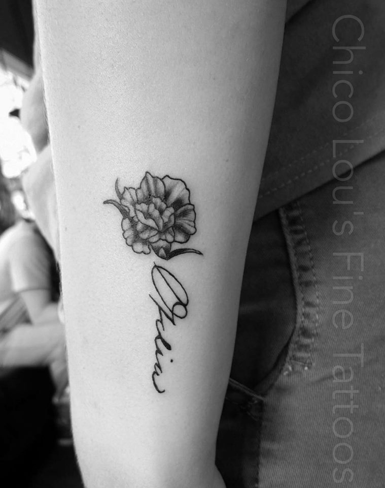 Carnation and signature by Chico Lou's Fine Tattoos shop in Athens Georgia GA. Artist - Sara Fogle