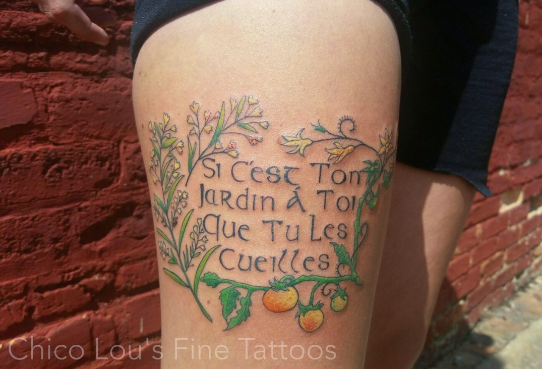 Flowers, tomatoes, and French by Chico Lou's Fine Tattoos shop in Athens Georgia GA. Artist - Sara Fogle