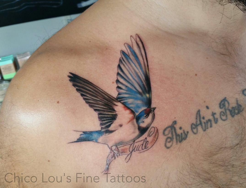 Swallow by Chico Lou's Fine Tattoos shop in Athens Georgia GA. Artist - Sara Fogle