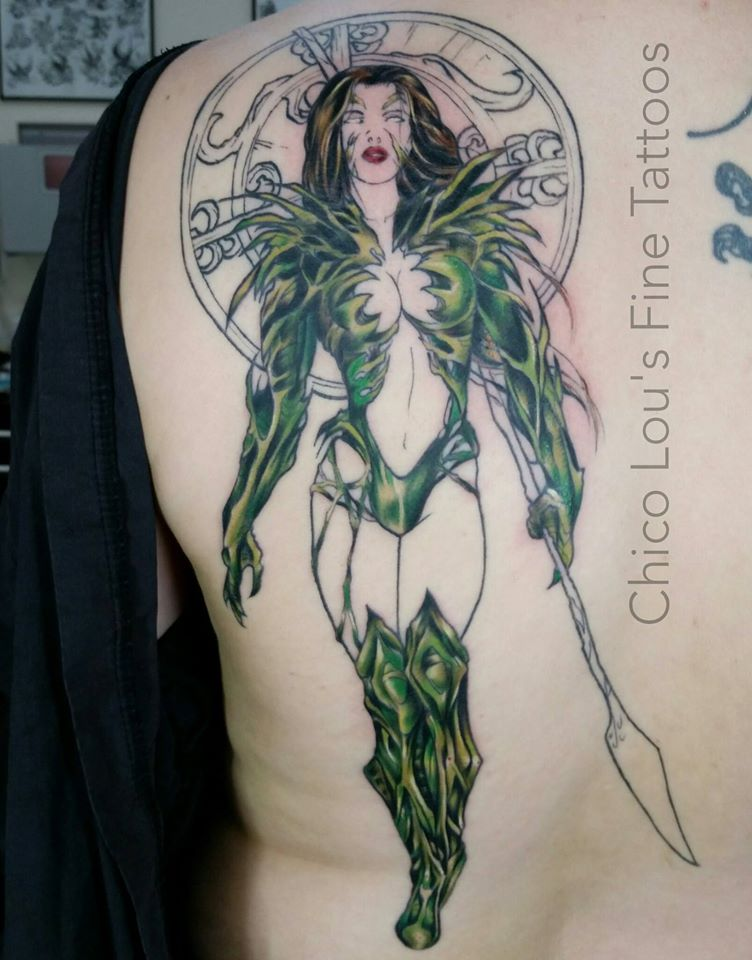 Witchblade progress by Chico Lou's Fine Tattoos shop in Athens Georgia GA. Artist - Sara Fogle