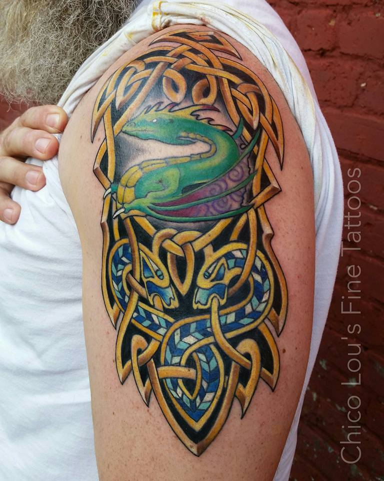 Celtic knot dragon cover-up progress by Chico Lou's Fine Tattoos shop in Athens Georgia GA. Artist - Sara Fogle