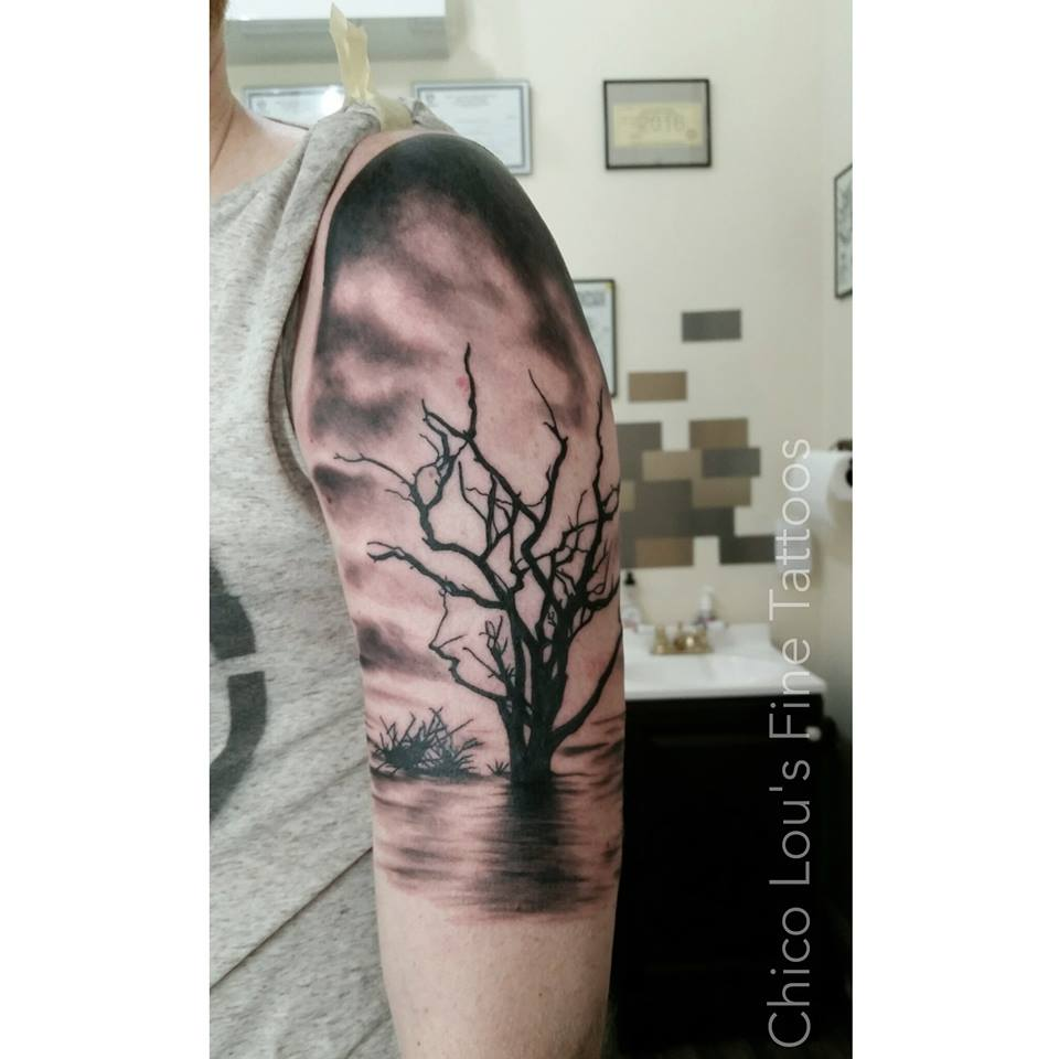 Grayscale tree by Chico lou's Fine Tattoos shop in Athens Georgia GA. Artist - Sara Fogle