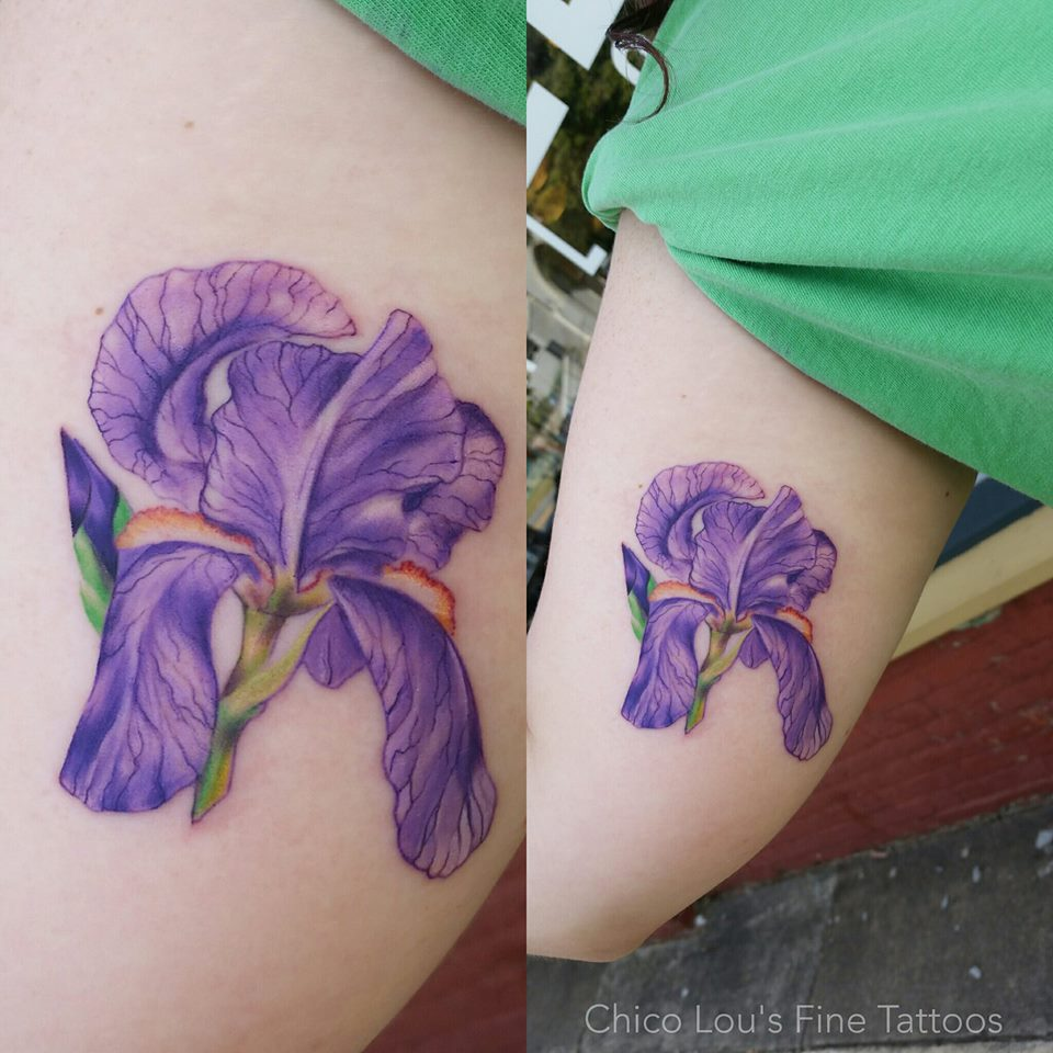 Iris by Chico Lou's Fine Tattoos shop in Athens Georgia GA. Artist - Sara Fogle