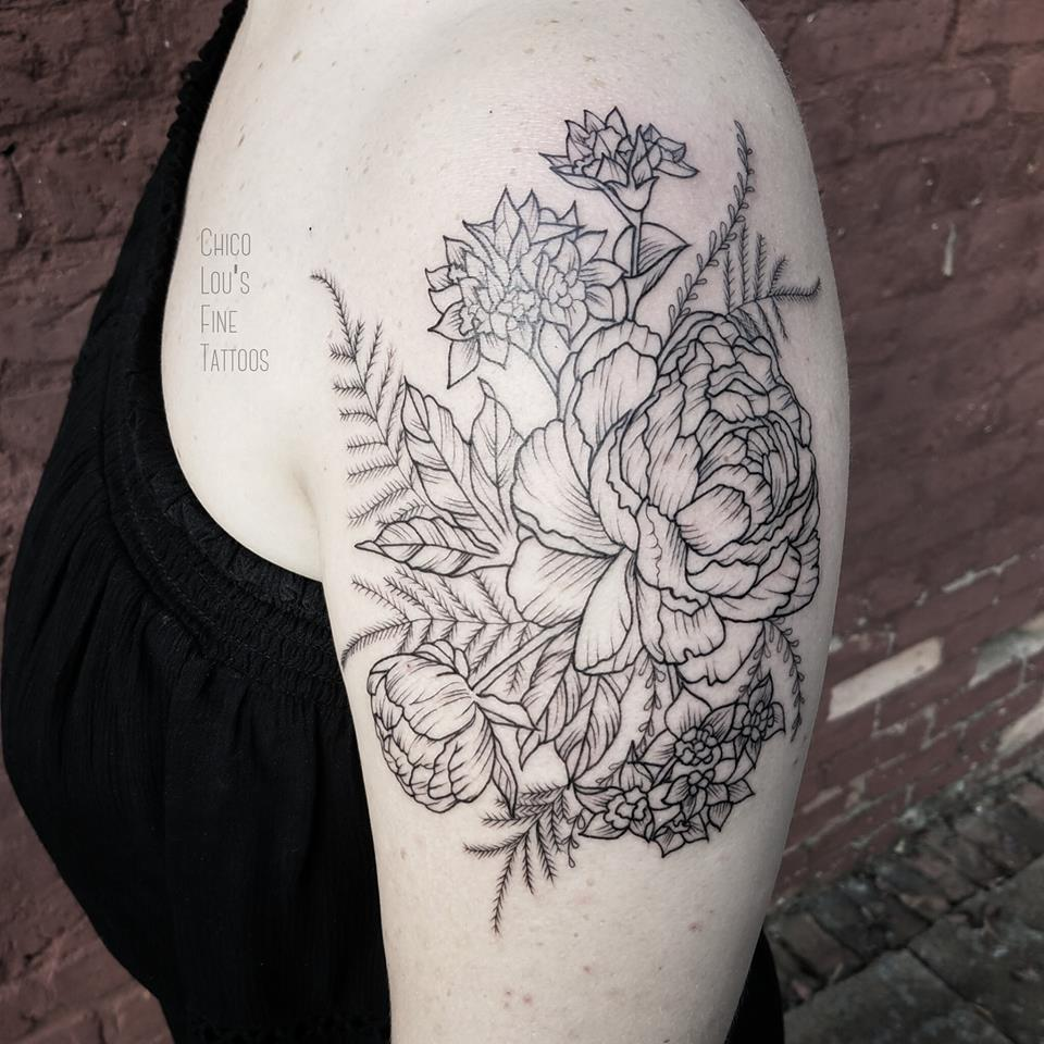 Blackwork flowers by Chico Lou's Fine Tattoos shop in Athens Georgia GA. Artist - Sara Fogle