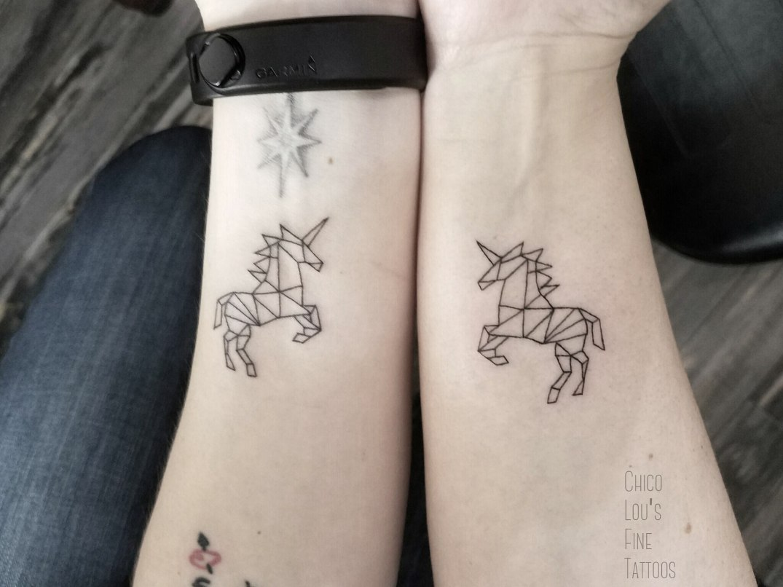 Friendship unicorns by Chico Lou's Fine Tattoos in Athens Georgia GA. Artist - Sara Fogle