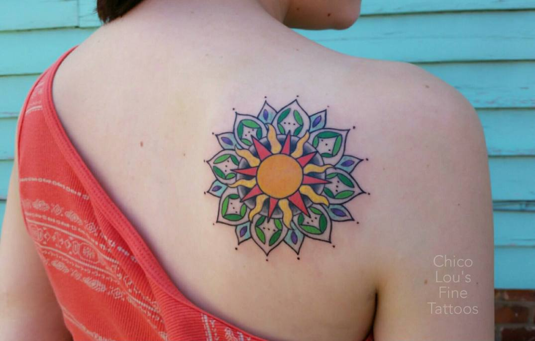 Mandala by Chico Lou's Fine Tattoos shop in Athens Georgia GA. Artist - Sara Fogle
