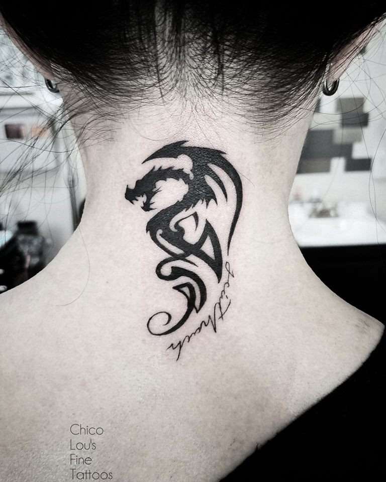 Black dragon by Chico Lou's Fine Tattoos shop in Athens Georgia GA. Artist - Sara Fogle