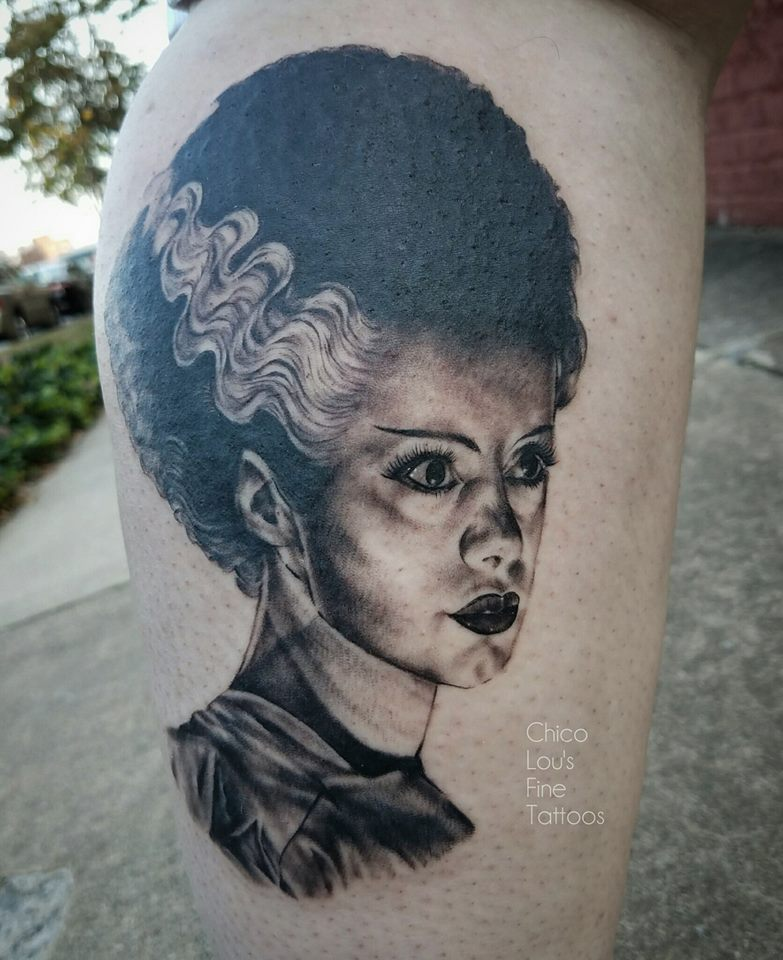 Bride of Frankenstein by Chico Lou's Fine Tattoos shop in Athens Georgia GA. Artist - Sara Fogle