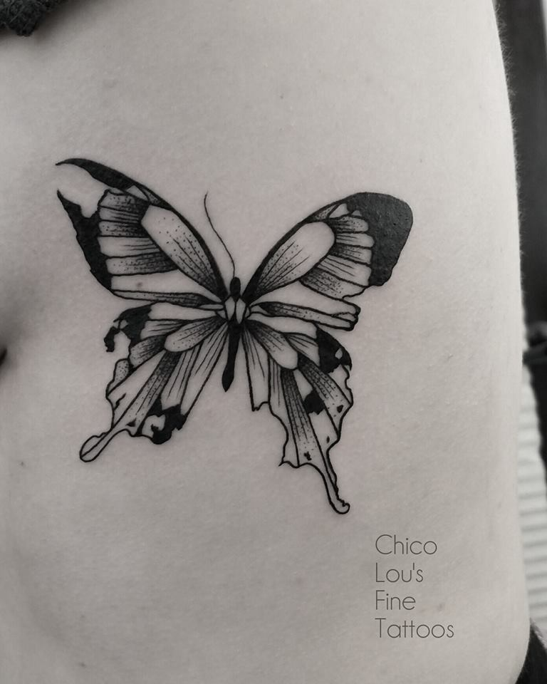Distressed butterfly by Chico Lou's Fine Tattoos shop in Athens Georgia GA. Artist - Sara Fogle
