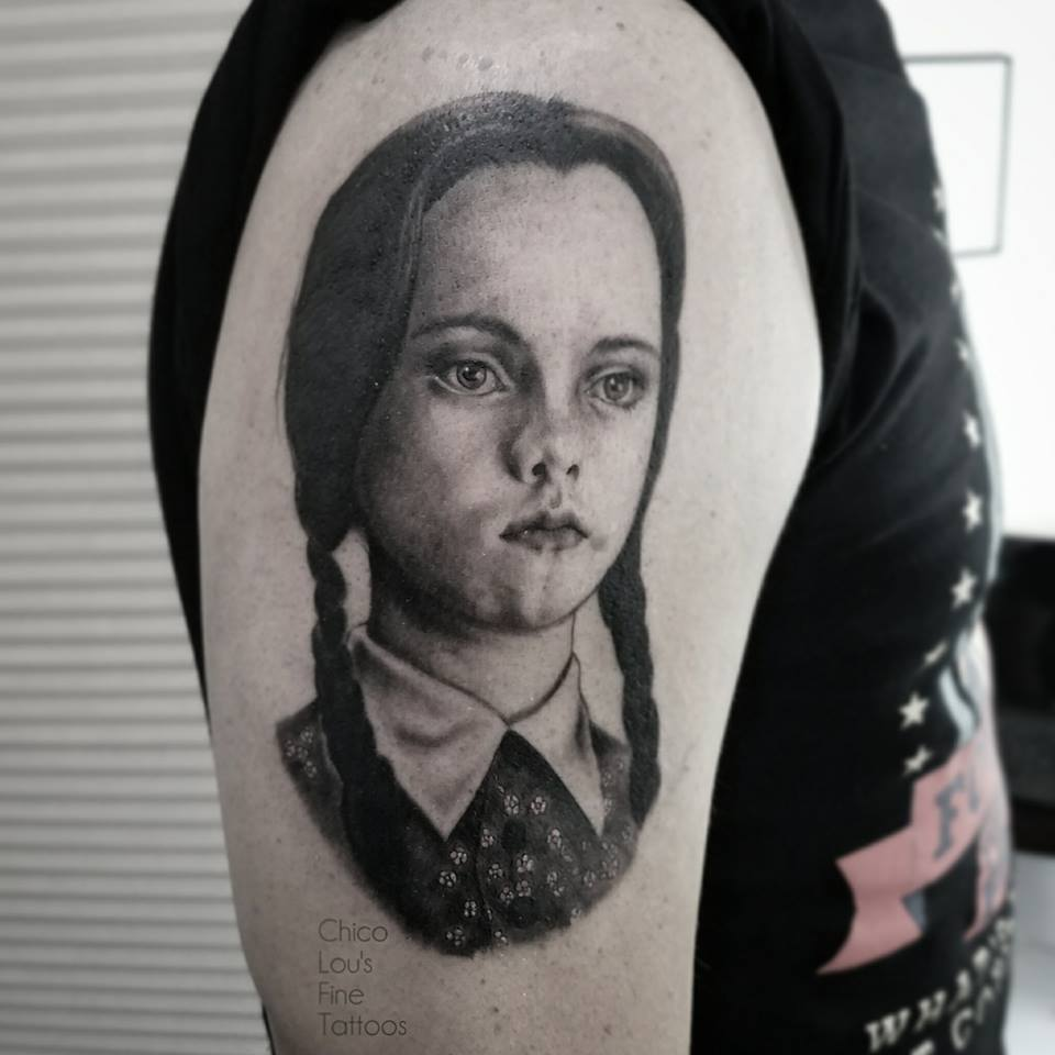 Wednesday Addams by Chico Lou's Fine Tattoos shop in Athens Georgia GA. Artist - Sara Fogle