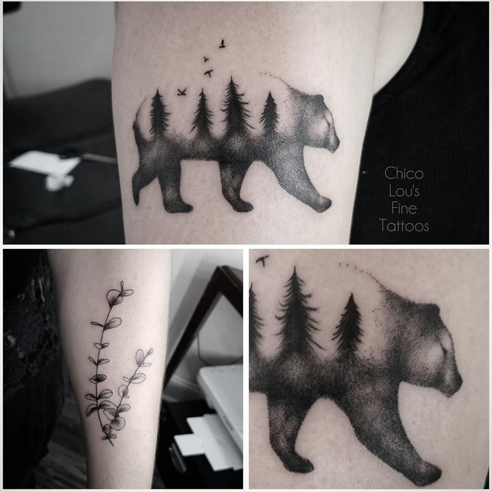 Blackwork bear by Chico Lou's Fine Tattoos shop in Athens Georgia GA. Artist - Sara Fogle