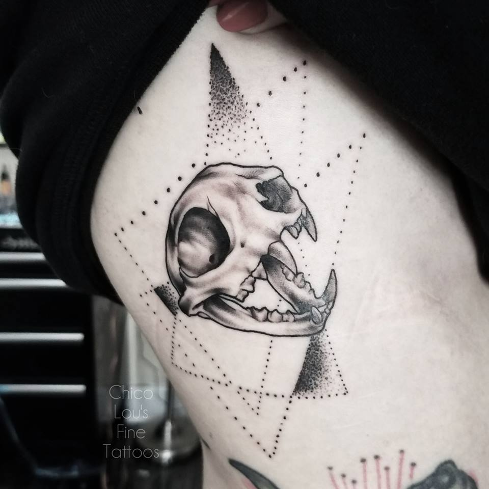 Bobcat skull BFF tattoo details by Chico Lou's Fine Tattoos shop in Athens Georgia GA. Artist - Sara Fogle