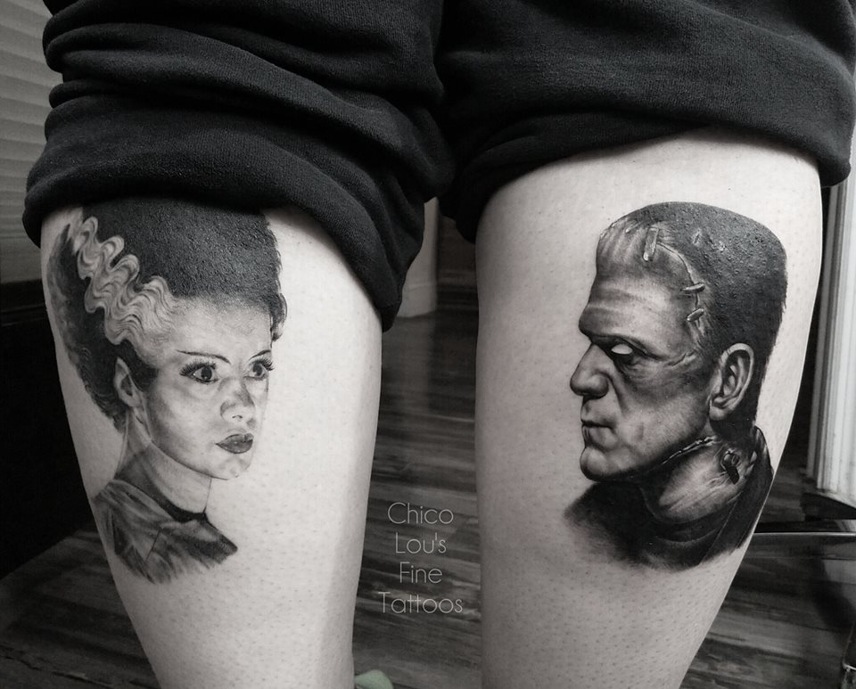 Bride of Frankenstein and Frankenstein's Monster by Chico Lou's Fine Tattoos shop in Athens Georgia GA. Artist - Sara Fogle