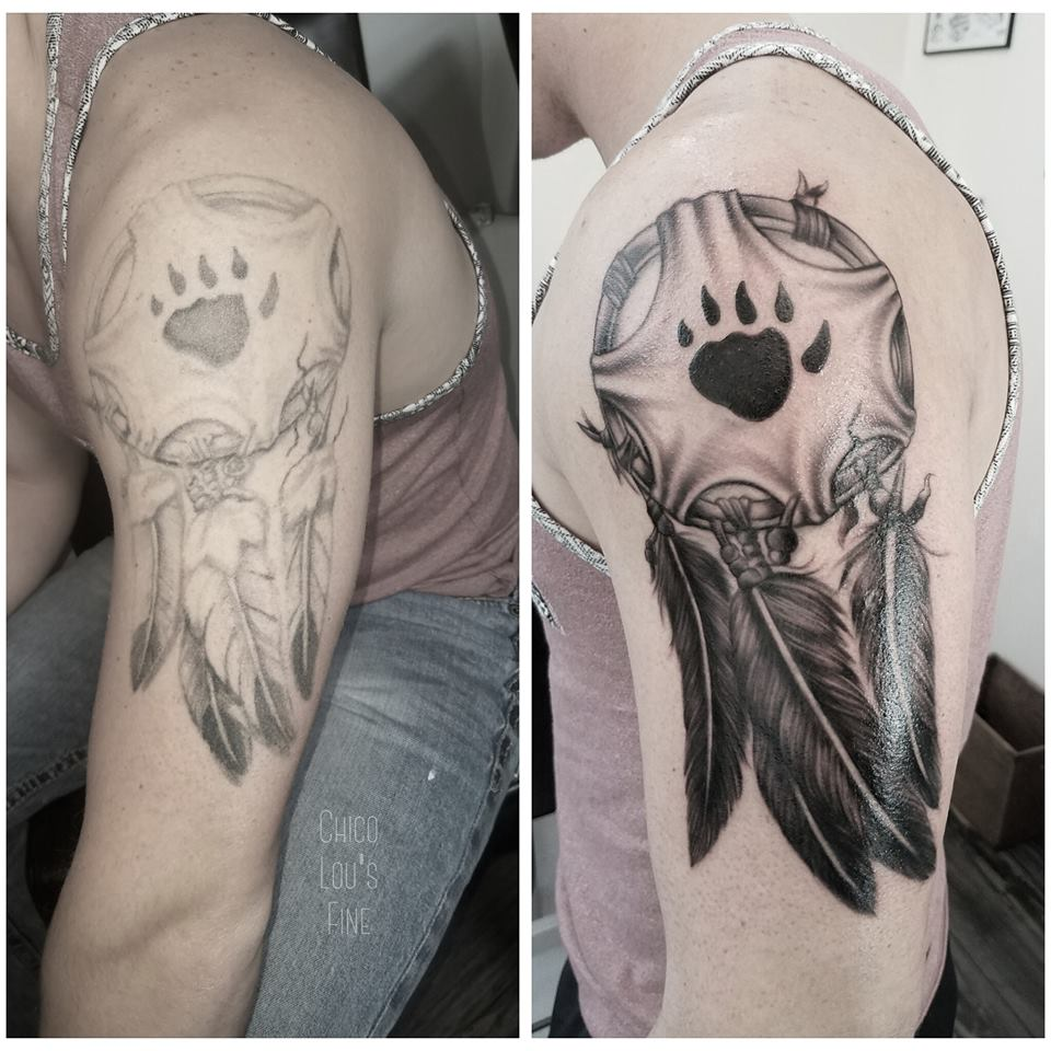 Dreamcatcher fix-up by Chico Lou's Fine Tattoos shop in Athens Georgia GA. Artist - Sara Fogle