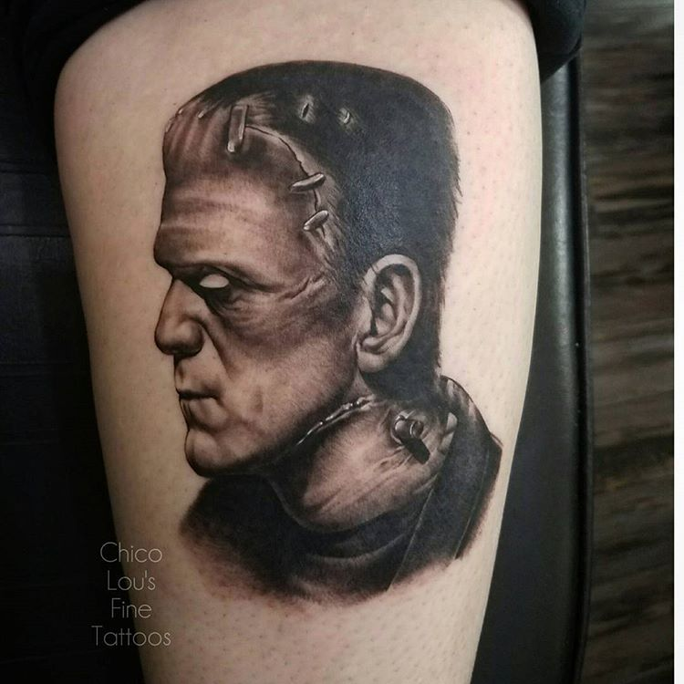 Frankenstein's Monster by Chico Lou's Fine Tattoos shop in Athens Georgia GA. Artist - Sara Fogle