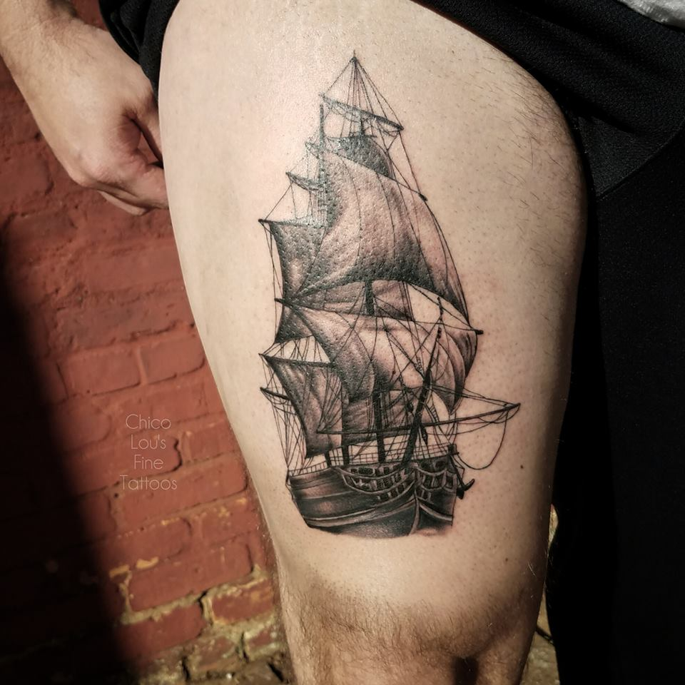 Tall ship by Chico Lou's Fine Tattoos shop in Athens Georgia GA. Artist - Sara Fogle