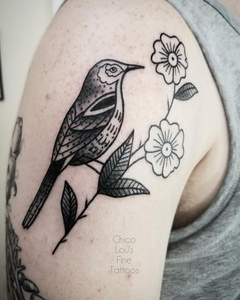 Blackwork bird by Chico Lou's Fine Tattoos shop in Athens Georgia GA. Artist - Sara Fogle