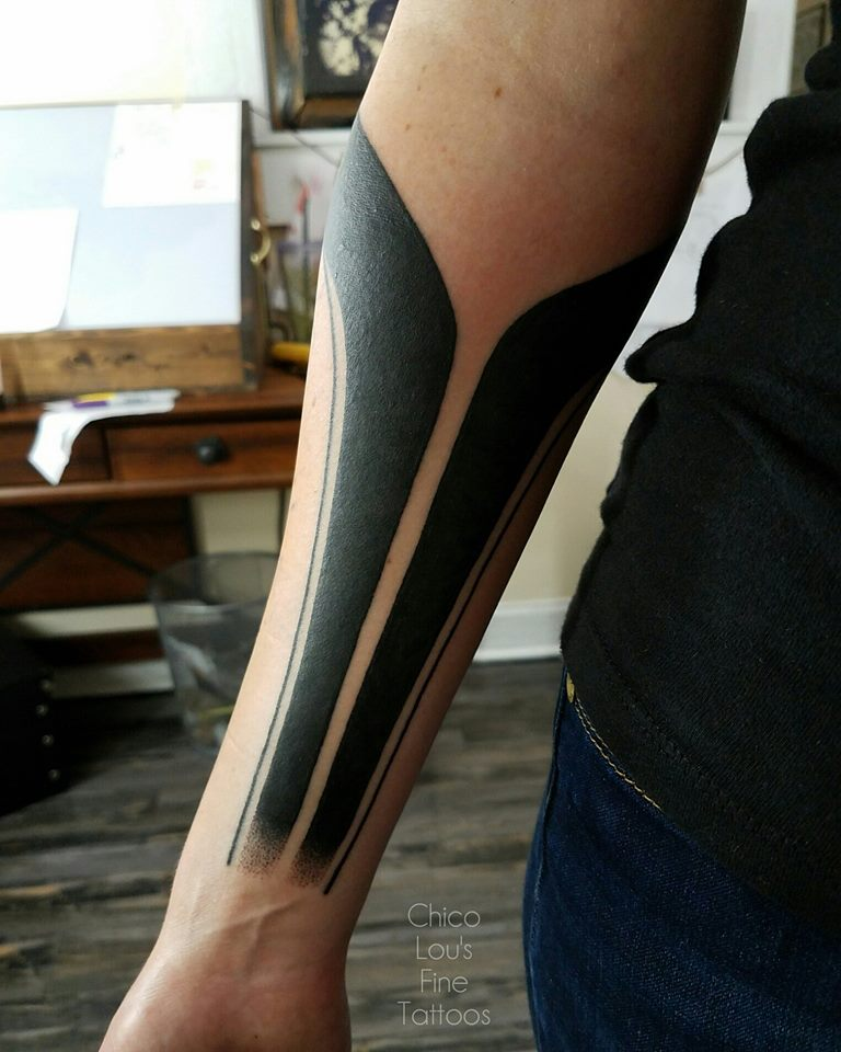 Blackwork sleeve (1st session) by Chico Lou's Fine Tattoos shop in Athens Georgia GA. Artist - Sara Fogle