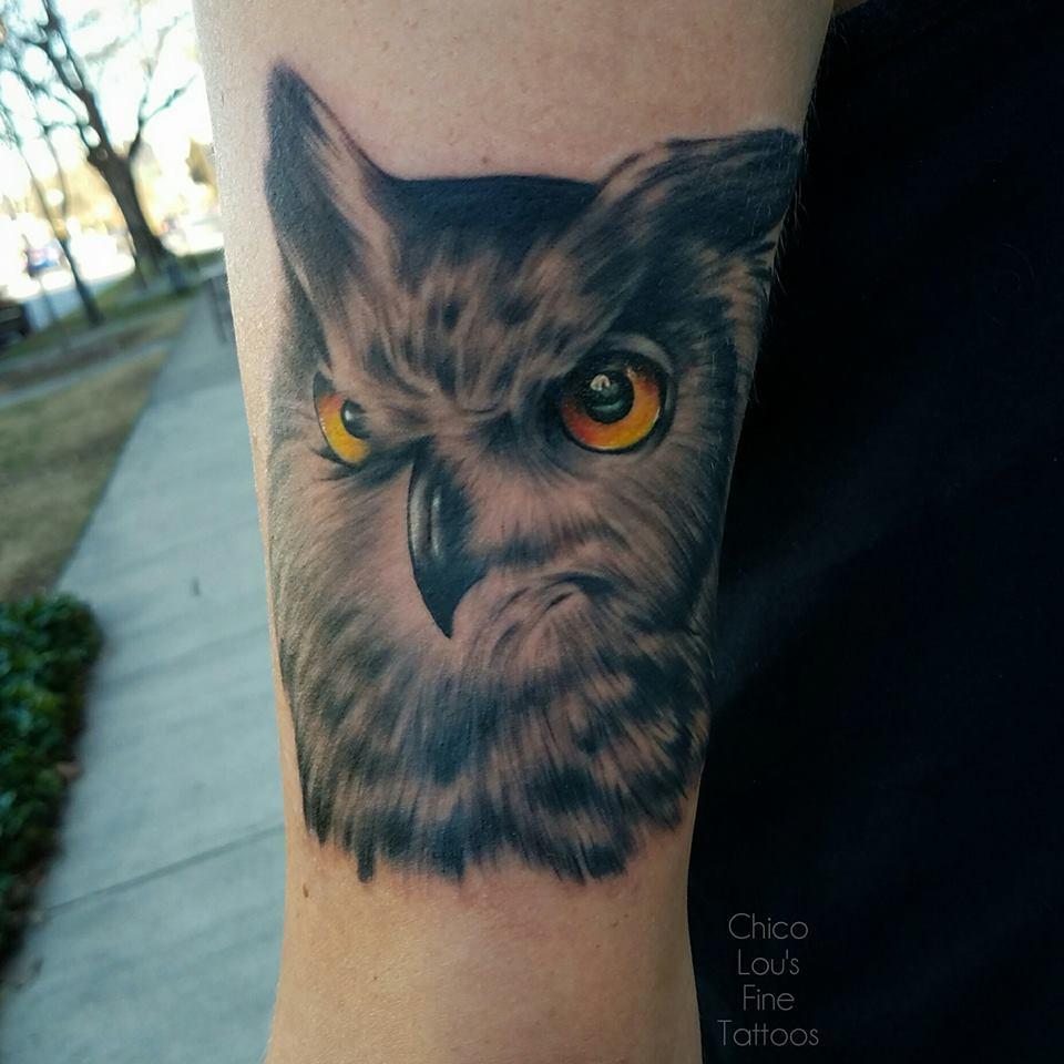 Owl by Chico Lou's Fine Tattoos shop in Athens Georgia GA. Artist - Sara Fogle