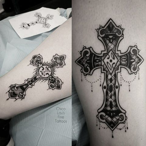 Lace crosses by Chico Lou's Fine Tattoos shop in Athens Georgia GA. Artist - Sara Fogle