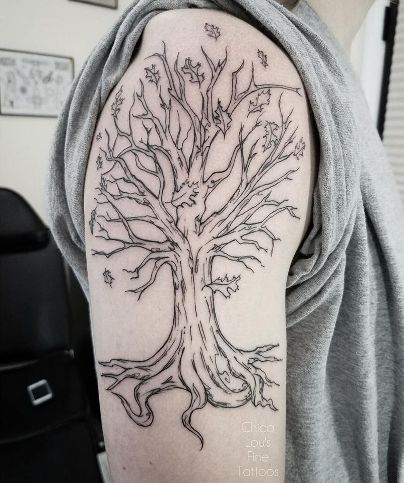 Sketch style tree by Chico Lou's Fine Tattoos shop in Athens Georgia GA. Artist - Sara Fogle