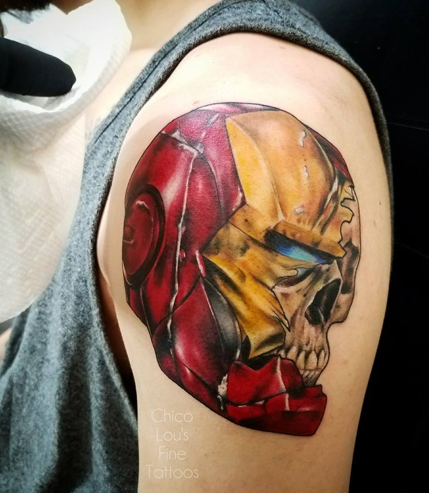 Iron Man skull by Chico Lou's Fine Tattoos shop in Athens Georgia GA. Artist - Sara Fogle