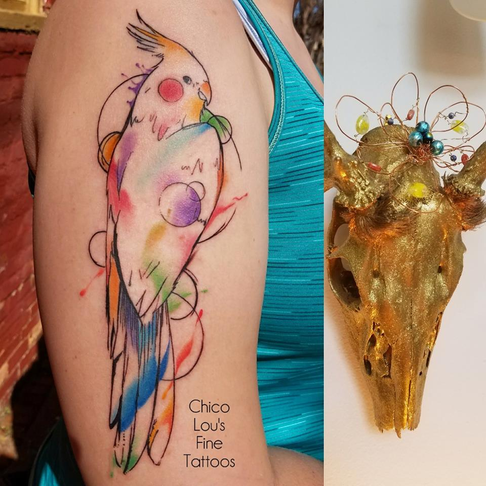 Watercolor parrot by Chico Lou's Fine Tattoos shop in Athens Georgia GA. Artist - Sara Fogle