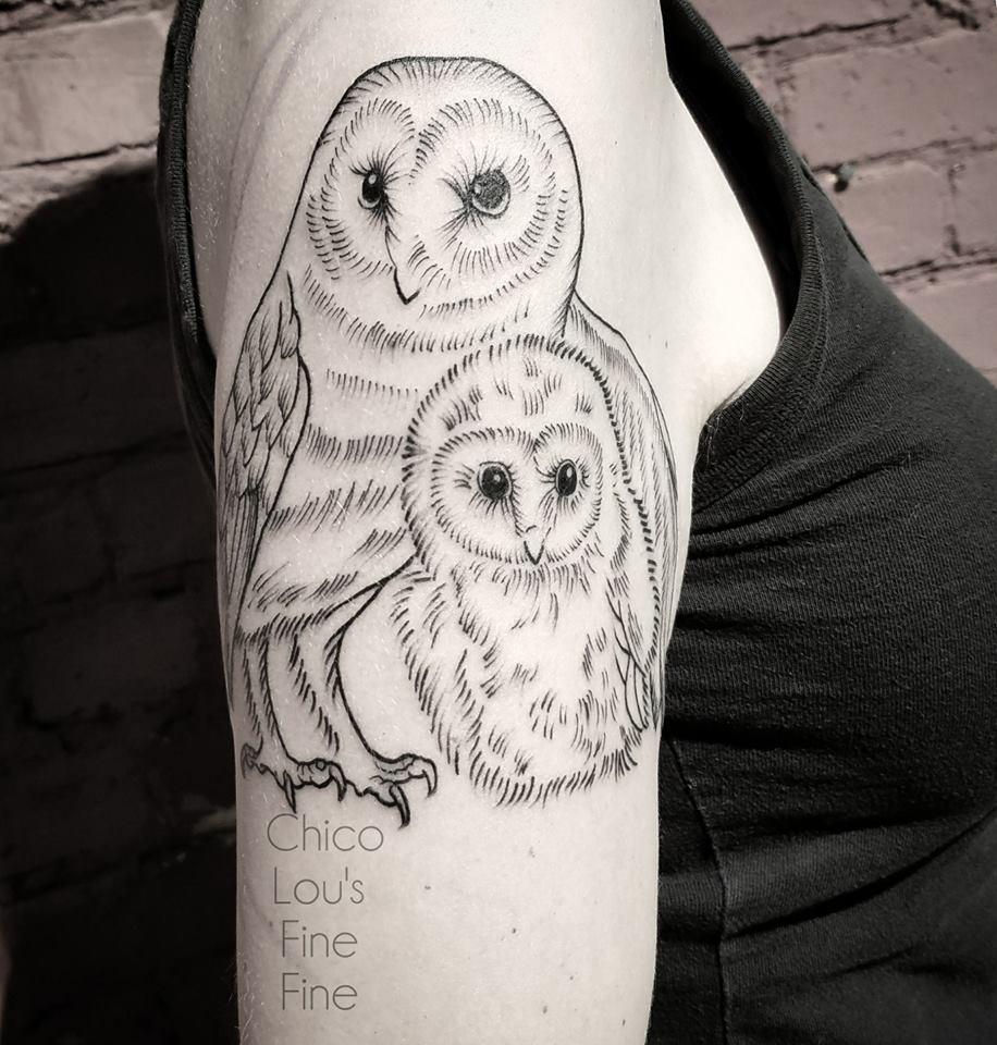 Owl family by Chico Lou's Fine Tattoos shop in Athens Georgia GA. Artist - Sara Fogle