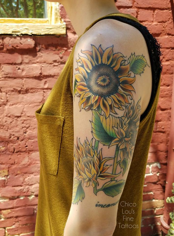 Sunflowers by Chico Lou's Fine Tattoos shop in Athens Georgia GA. Artist - Sara Fogle
