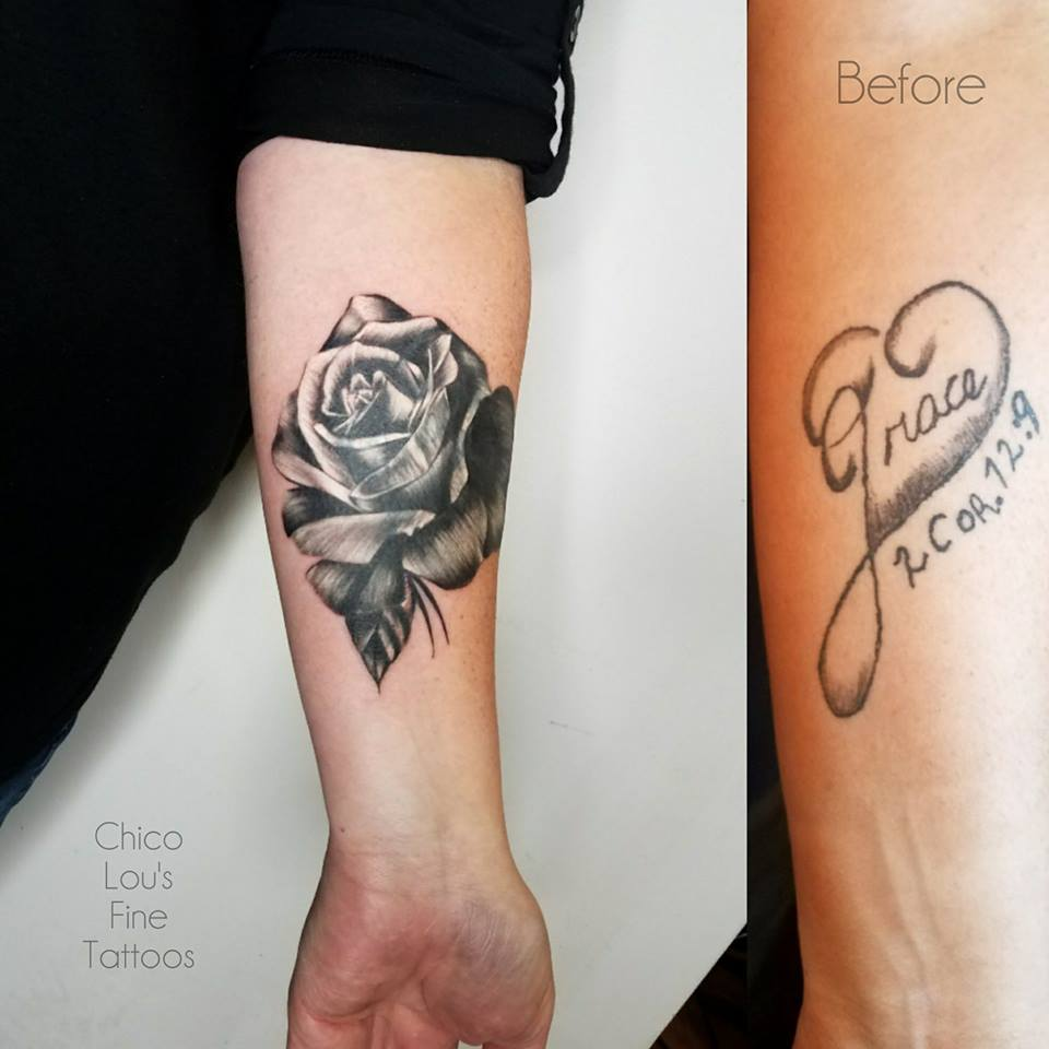 Rose coverup by Chico Lou's Fine tattoos shop in Athens Georgia GA. Artist - Sara Fogle
