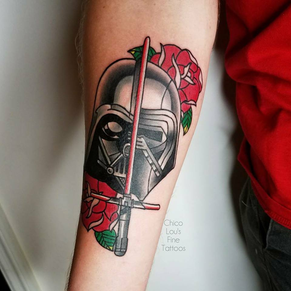 Darth Vader/Kylo Ren by Chico Lou's Fine Tattoos shop in Athens Georgia GA. Artist - Sara Fogle
