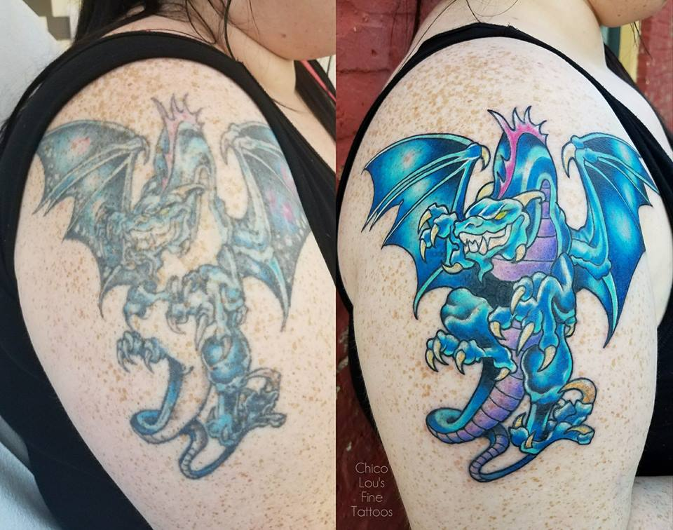 Dragon fix-up by Chico Lou's Fine Tattoos shop in Athens Georgia GA. Artist - Sara Fogle