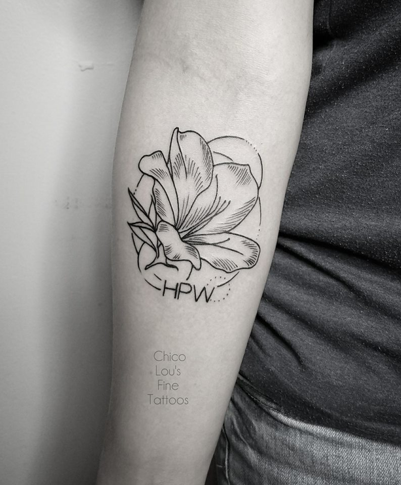 Linework flowers by Chico Lou's Fine Tattoos shop in Athens Georgia GA. Artist - Sara Fogle