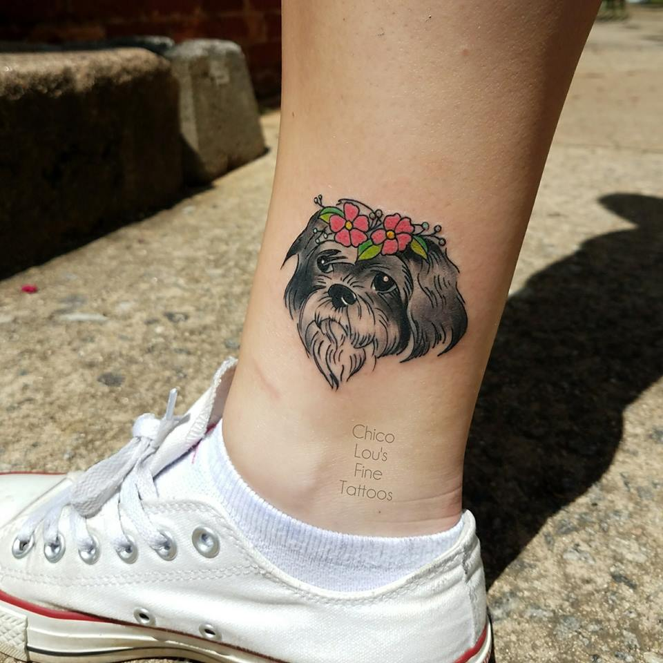 Cassie the Shih tzu by Chico Lou's Fine Tattoos shop in Athens Georgia GA. Artist - Sara Fogle