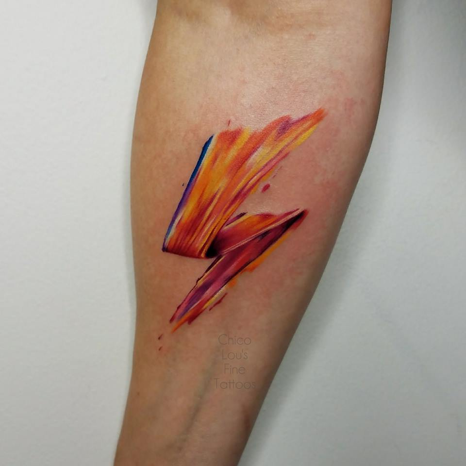 Watercolor David Bowie Aladdin Sane lightning bolt by Chico Lou's Fine Tattoos shop in Athens Georgia GA. Artist - Sara Fogle