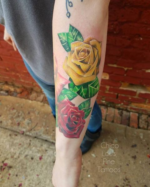 Yellow rose by Chico Lou's Fine Tattoos shop in Athens Georgia GA. Artist - Sara Fogle