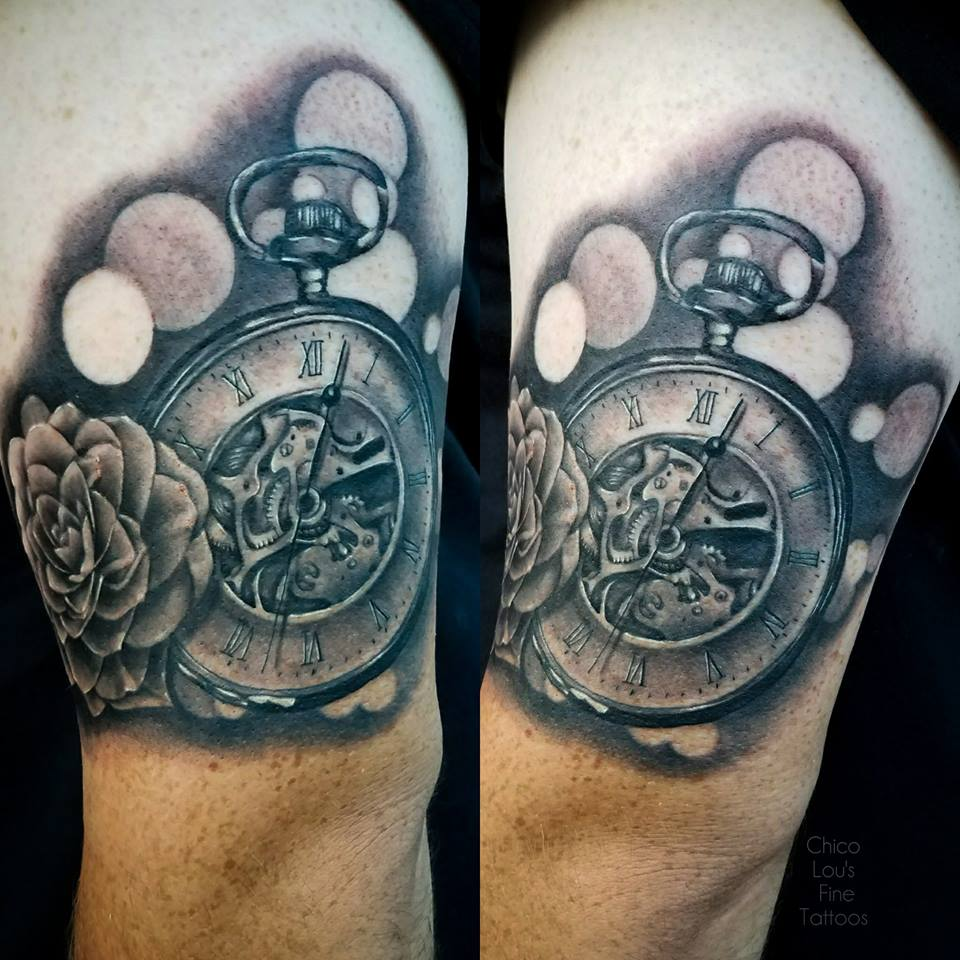 Grayscale realism pocket watch by Chico Lou's Fine Tattoos shop in Athens Georgia GA. Artist - Sara Fogle