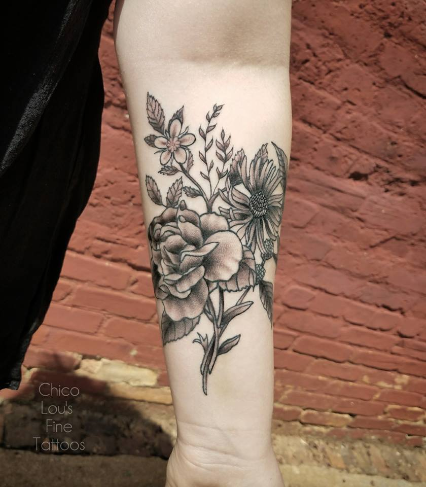 Grayscale flowers by Chico Lou's Fine tattoos shop in Athens Georgia GA. Artist - Sara Fogle